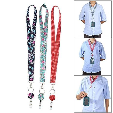 KOBWA - Llavero de Seguridad para Enfermeras y Profesores, 3 Unidades, 2 en 1, retráctil, Carrete con Clip Giratorio de cocodrilo de 360°, Cierre de ...
