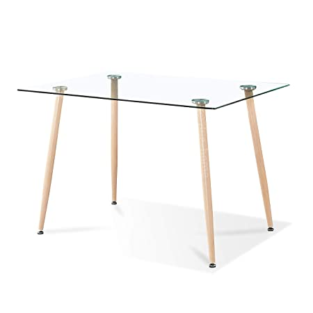 Adec - Liam, Mesa de Comedor, Mesa Salon Fija de Cristal Patas Color Oak,  Medidas:120cm (Largo) x 80 cm (Ancho) x 75 (Alto).