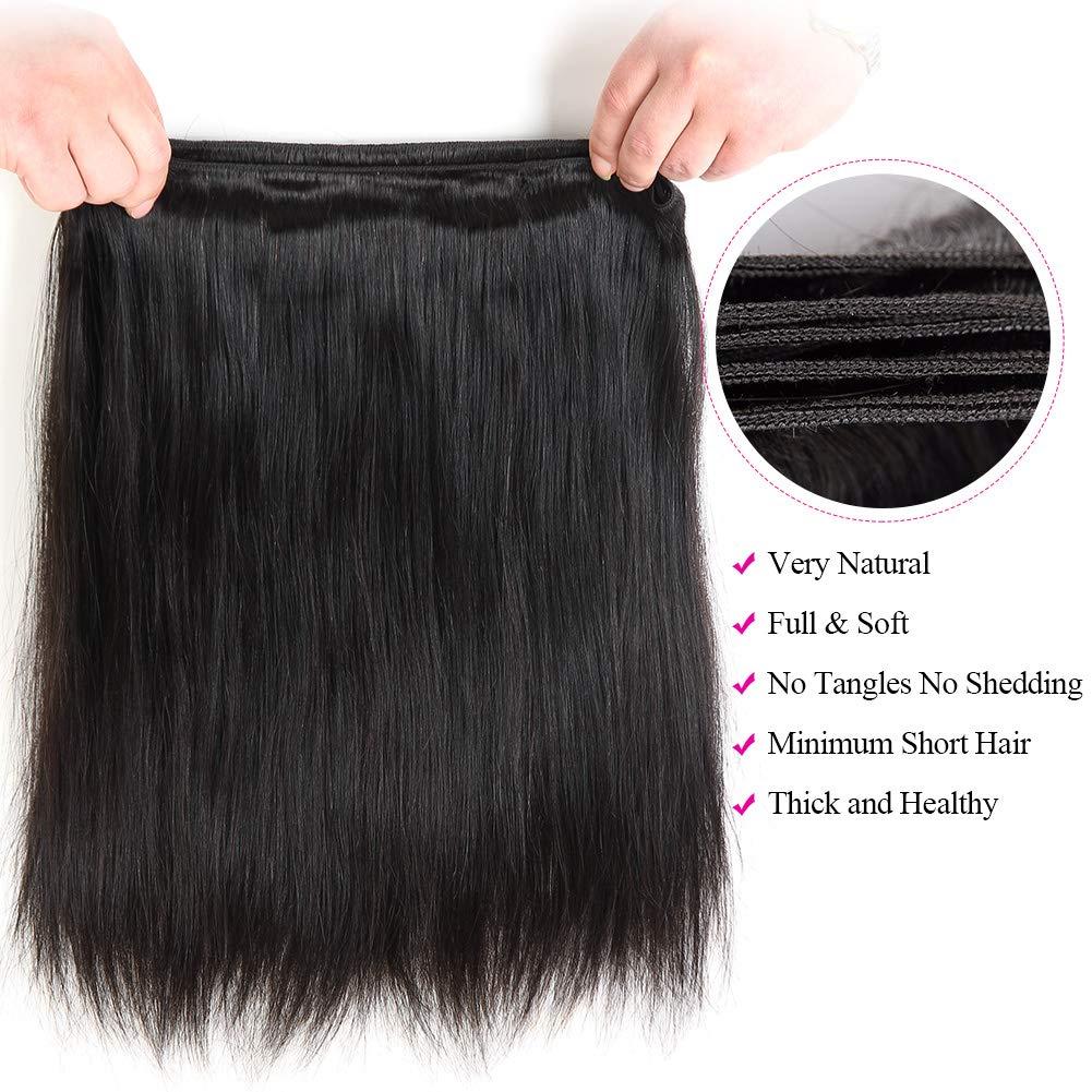 Subella Brazilian Straight Hair 3 Bundles 14 16 18inch Grade 9A Virgin Straight Human Hair Bundles Natural Black Color Hair Weave by Subella (Image #5)