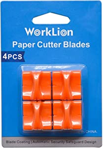 WORKLION Paper Trimmer Replacement Blades with Automatic Security Safeguard Design - A4 Paper Cutter Blade Refill (4 Pack)