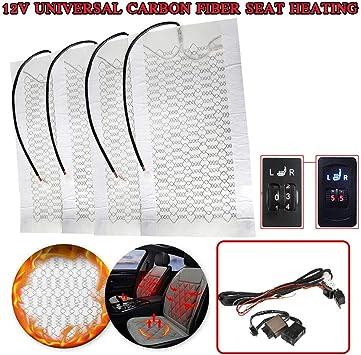 Universal Carbon Fiber Seat Heater Warmer Kit Heated Pad For Motorcycle ATV Bike