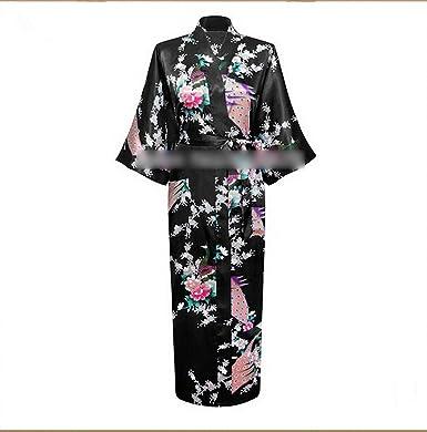 Anieca New White Silk Robes Women Long Nightgown Printed Kimono Gown Flower,Black,S
