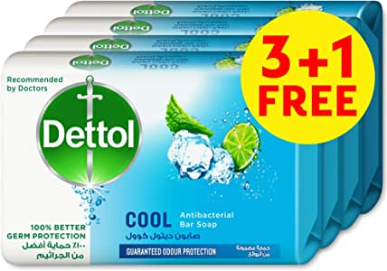 Dettol Cool Anti-bacterial Bar Soap 165g 3+1 Free - Mint & Bergamont