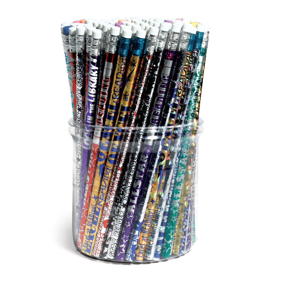 Reading Pencil Tub, 144-Piece #2 Pencils, Assorted Designs and Colors