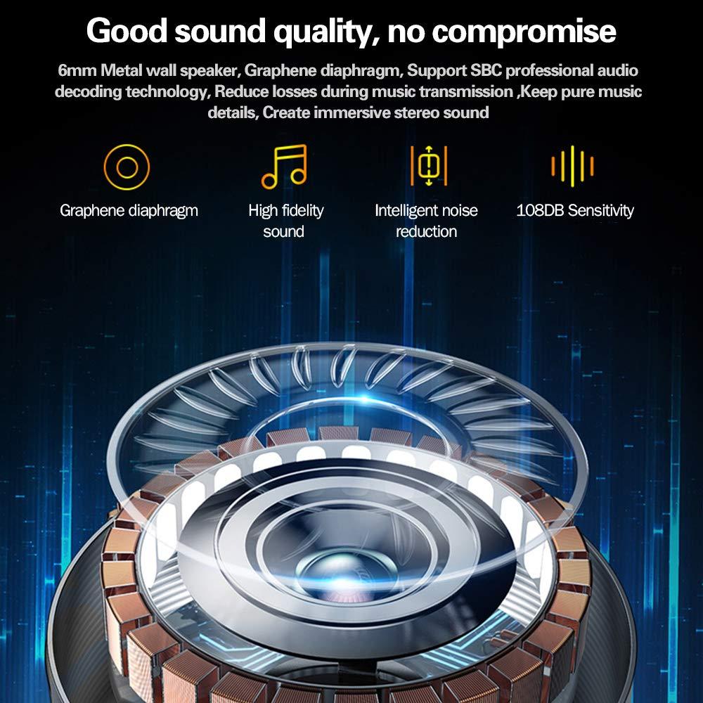 Zagzog Auriculares Bluetooth Inalámbricos, Bluetooth V5.0 Caja de Carga de 1000mAh Teclas Táctiles Impermeable IPX6 HiFi Audio con Micrófono CVC6.0 Mini Manos Libres Deportivos para iOS/Android Plata