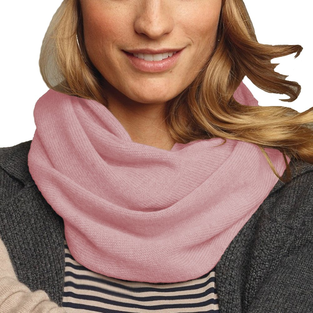Parisbonbon Women's 100% Cashmere Solid Infinity Scarf Color Shell Pink One Size
