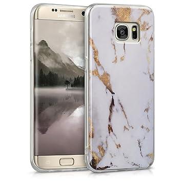 kwmobile Funda para Samsung Galaxy S7 Edge - Carcasa de [TPU] para móvil y diseño de mármol clásico en [Blanco/Dorado]