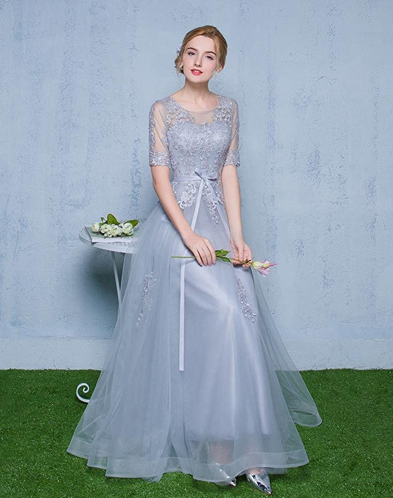 Beauty-Emily Half Sleeve See Through Lace A-Line Bridesmaid Gowns