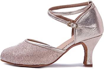 a53f6e75c HIPPOSEUS Women's Latin Ballroom Moden Dance Shoes Glitter  Leatherette/Sequins Closed Toes,Model WX