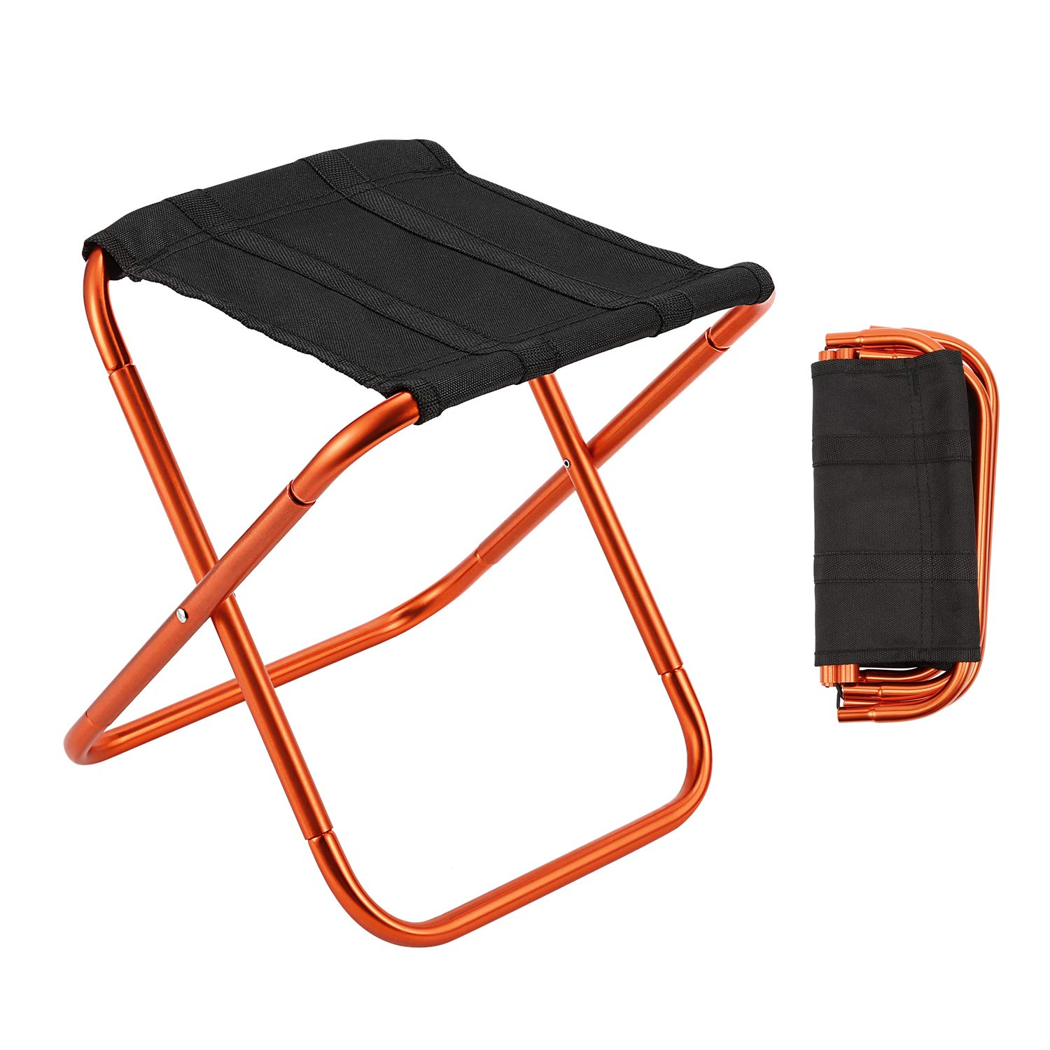 Gonex Folding Camping Stool, Lightweight & Portable Sturdy Chair for Picnic Camping Hiking Backpacking, Compact Traveling Foot Stool, Large Orange by Gonex