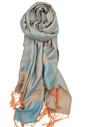 1143eecd332 Blue Orange Two Tone Vintage Paisley Pashmina Shawl Wrap Tapestry ...