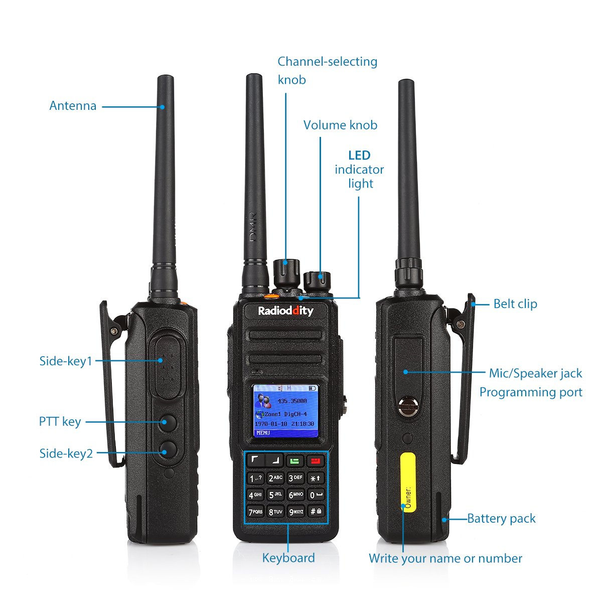 Radioddity GD-55 Plus 10W IP67 Waterproof UHF 400-470MHz 256CH 2800mAh DMR Digital Two Way Radio Ham Radio Compatible with Mototrbo Dual Time Slot, with Free Programming Cable and 2 Antennas by Radioddity (Image #8)