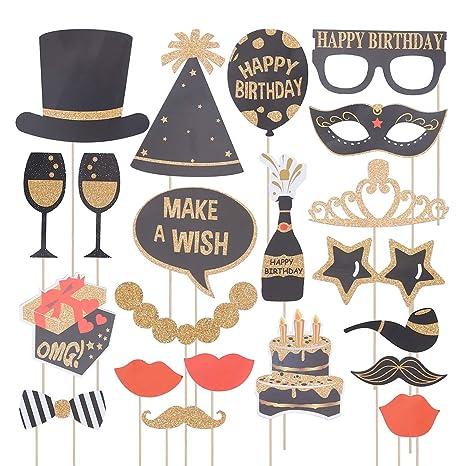 Amosfun Photo Booth Atrezzo para la fiesta de cumpleaños ...