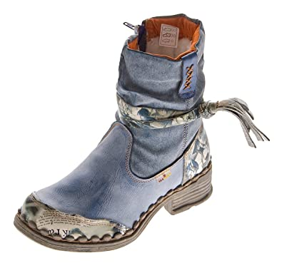 35b10c56083f TMA Leder Damen Winter Stiefeletten Comfort Boots Knöchel Schuhe Blau 5050  Gefüttert Gr. 36