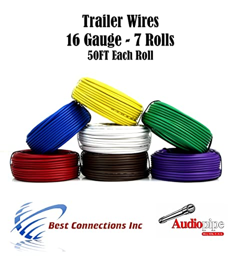 amazon com: 7 way trailer wire light cable for harness 50 ft each roll 16  gauge 7 colors: automotive