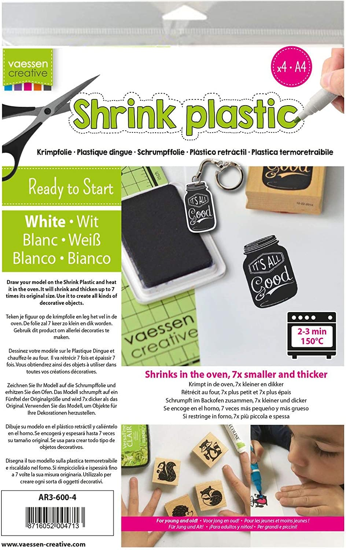 Vaessen Creative Plástico Mágico, Blanco, 4 Hojas, Tamaño 21 x 30 cm, Divertidos Proyectos de Arte y Manualidades para Todas Las Edades