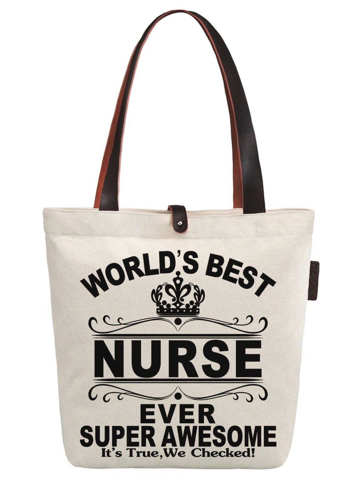 So'each Women's World's Best Nurse Ever Graphic Canvas Handbag Tote Shoulder Bag
