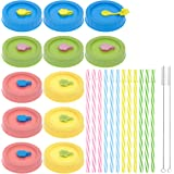 Regular Mouth Mason Jar Lids with Straw Hole/Plastic Straws/Silicone Stoppers/Silicone Rings/Cleaning Brush, Rust-proof, BPA