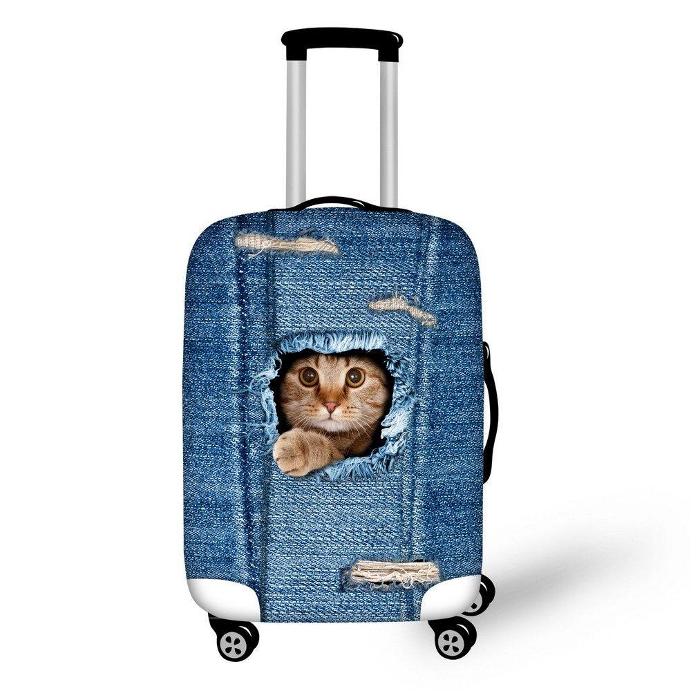 'thikin Stylish gato perro Denim Print Pattern kofferabdeckungen Durable elástica Spandex Scratch Proof Viaje Equipaje Cover Protectores Trolley Case Carcasa equipaje Sleeve para 18