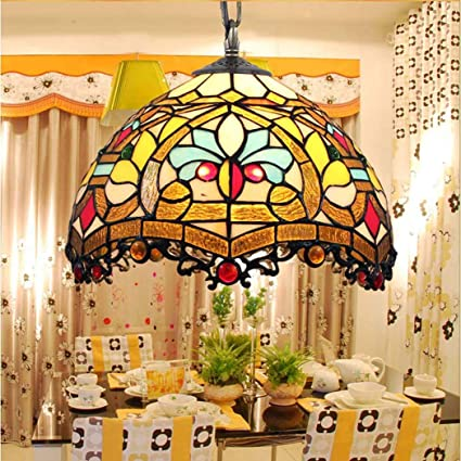 L&WB Lámpara de Techo de Estilo Tiffany, lámpara de Cristal ...