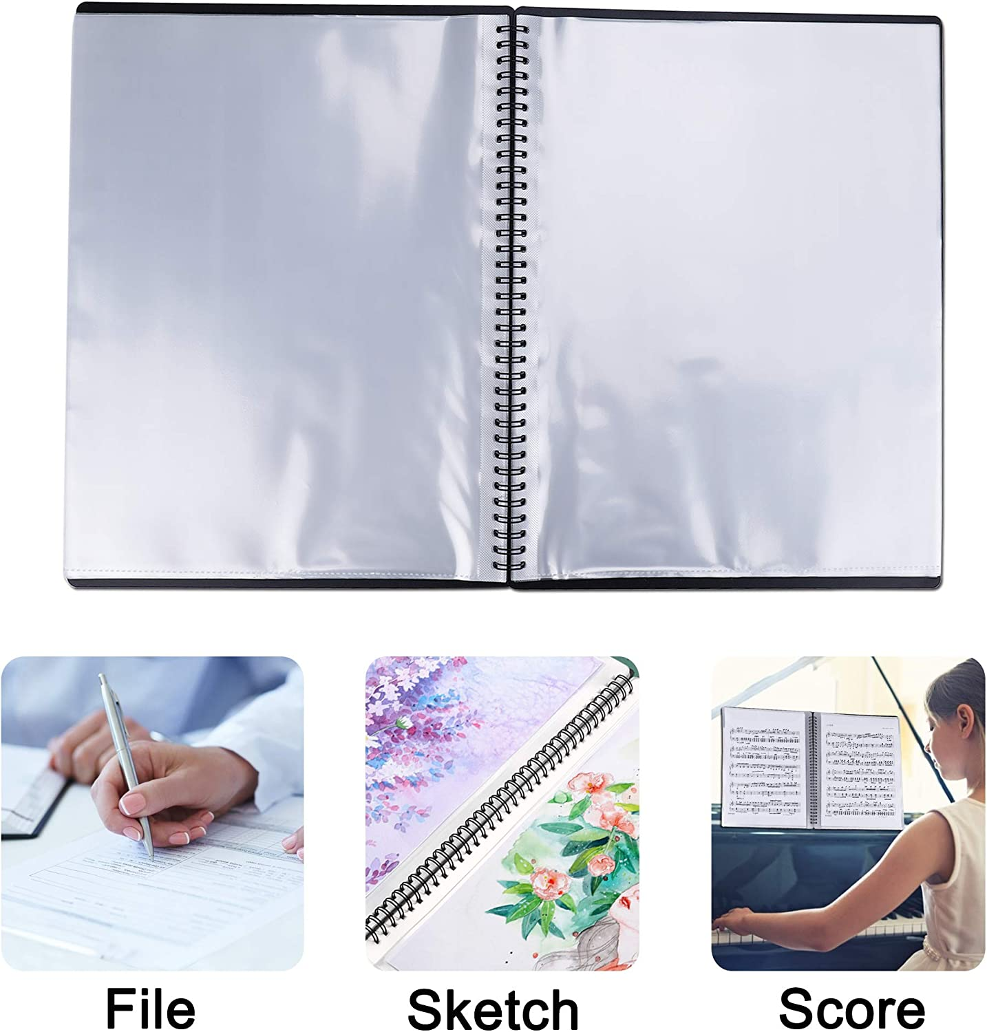 Music Sheet Folder Song File Clef Paper Storage Documents Holder Bag Writable and 180-degree Spiral-Bound Blank Plastic Concert Choral Folder A4 30 Pockets for Musicians and Band