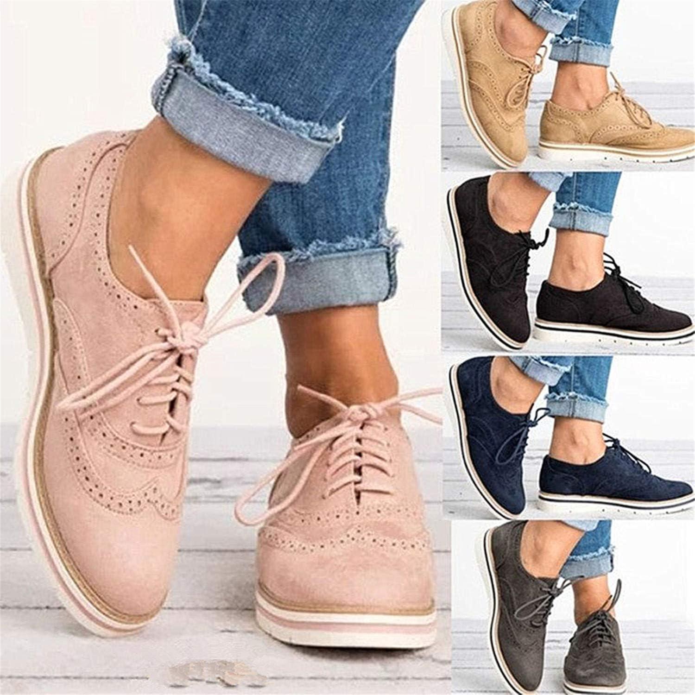 Derbies Femme /à Lacets Chaussure de Ville Brogues Su/ède Plate Oxford Automne Casual Basses Baskets Travail Sneaker Noir Rose Marron 35-43 Rose 38