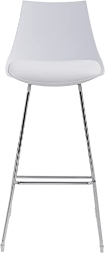 Emerald Home Neo White 30 Bar Stool with Molded Plastic Shell, Cushioned Seat, And Metal Bracing, Set of Two