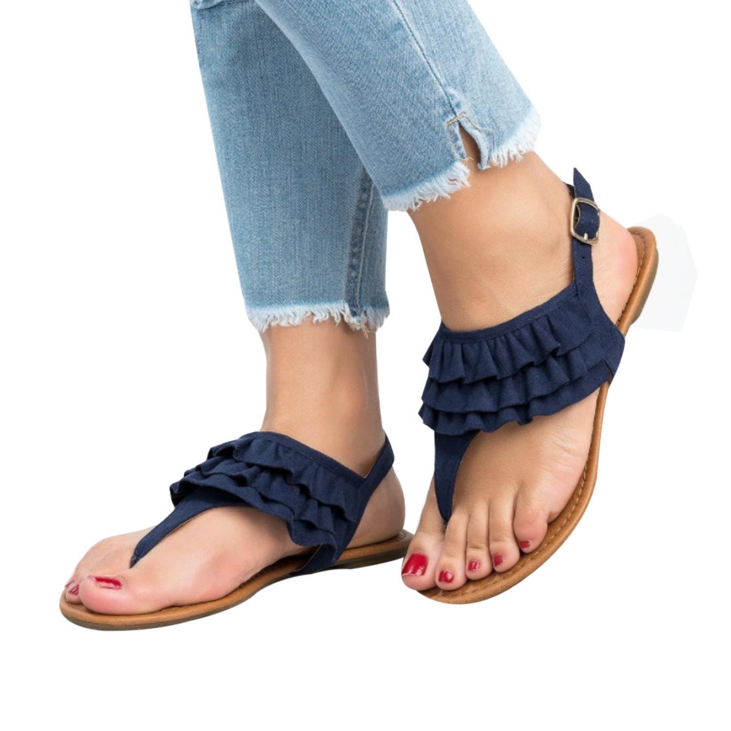 17e29a08b0b Amazon.com  Dellytop Women Ankle Strap Ruffle Thong Sandals Slingback Flip  Flops with Buckle  Shoes