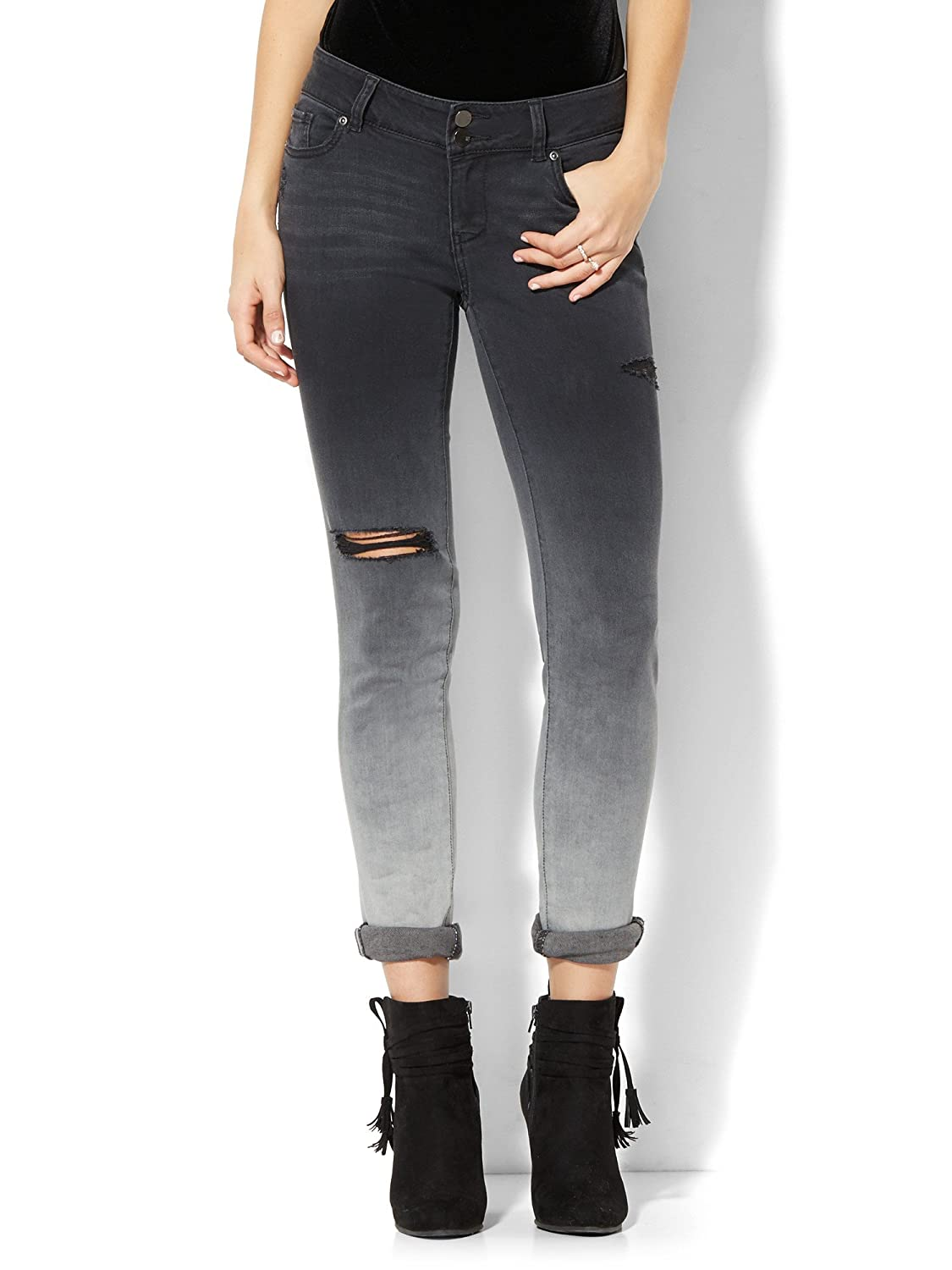 New York & Co. Women's Soho Jeans - Destroyed Boyfriend - Black Ombrac Wash