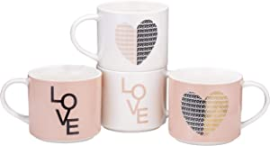 Bruntmor Set of 4 Stacking Ceramic Bone China Love Inspirational Coffee Mug set pastel pink colors with gold decal, 14 Oz. Valentine Day Gifts