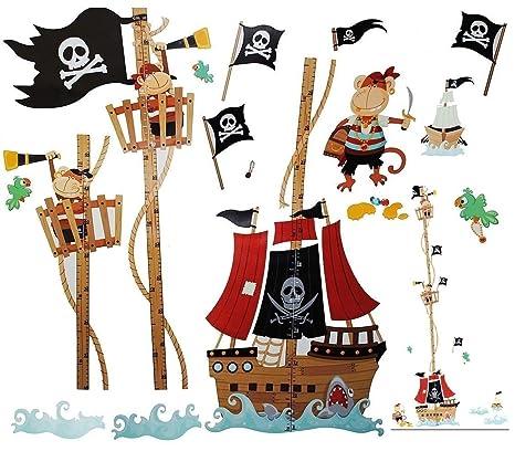 WandSticker4U- Wandtattoo Kinderzimmer kleine PIRATEN auf Schatzsuche I  Wandbilder: 158x88cm I Wandaufkleber Piratenschiff Messlatte Wandsticker ...
