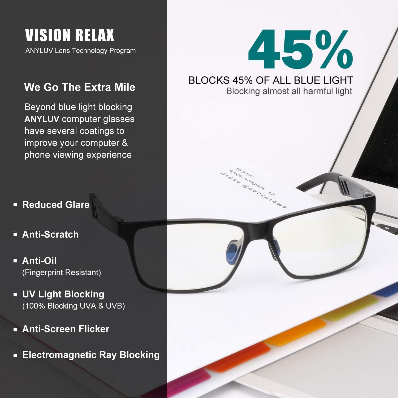 Computer Gaming Glasses,Anti Eyestrain,Al-Mg Metal Frame Ultra Light ANYLUV Blue Light Blocking Glasses Women Men
