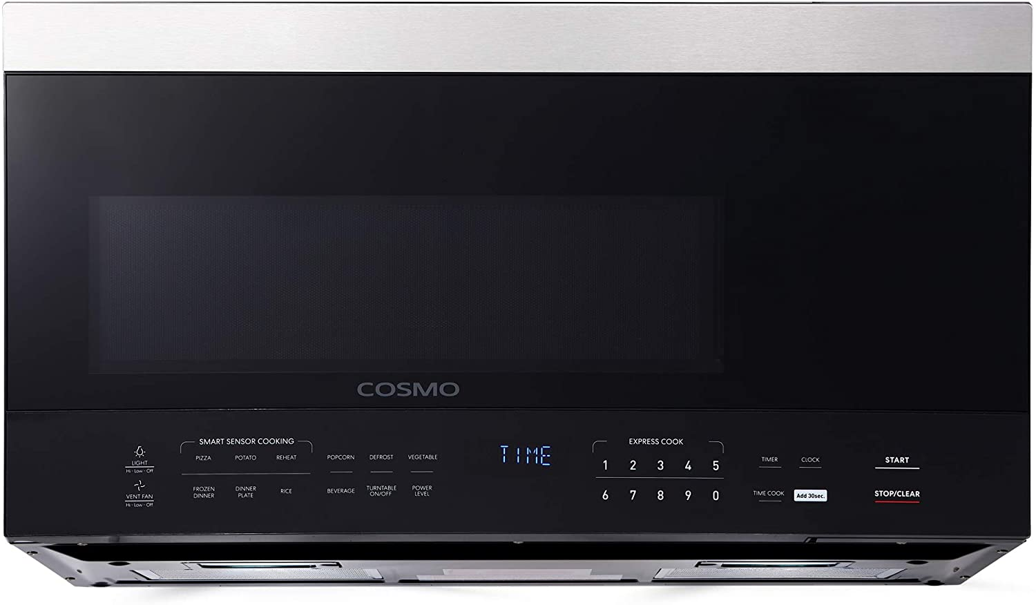 Cosmo COS-3016ORM1SS Over the Range Microwave Oven with Vent Fan, Smart Sensor, Touch Presets, 1000W & 1.6 cu. ft. Capacity, 30 inch, Black/Stainless Steel