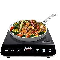 Cocina de inducción eléctrica portátil Cosmo con calefacción rápida, visualización LED sensor, bloqueo de seguridad, estufa encimera eficiente de energía, quemador único, 1800 W, COS-YLIC1
