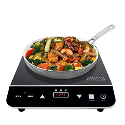 Cosmo Portable Electric Induction Cooktop With Rapid Heating, Sensor LED  Display, Safety Lock,