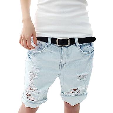 Minetom Sexy Damen Denim Jeans Shorts Hot Pants Lochjeans Kurzschlüsse  Boyfriend Jeans Used Look (EU b4db3a985d