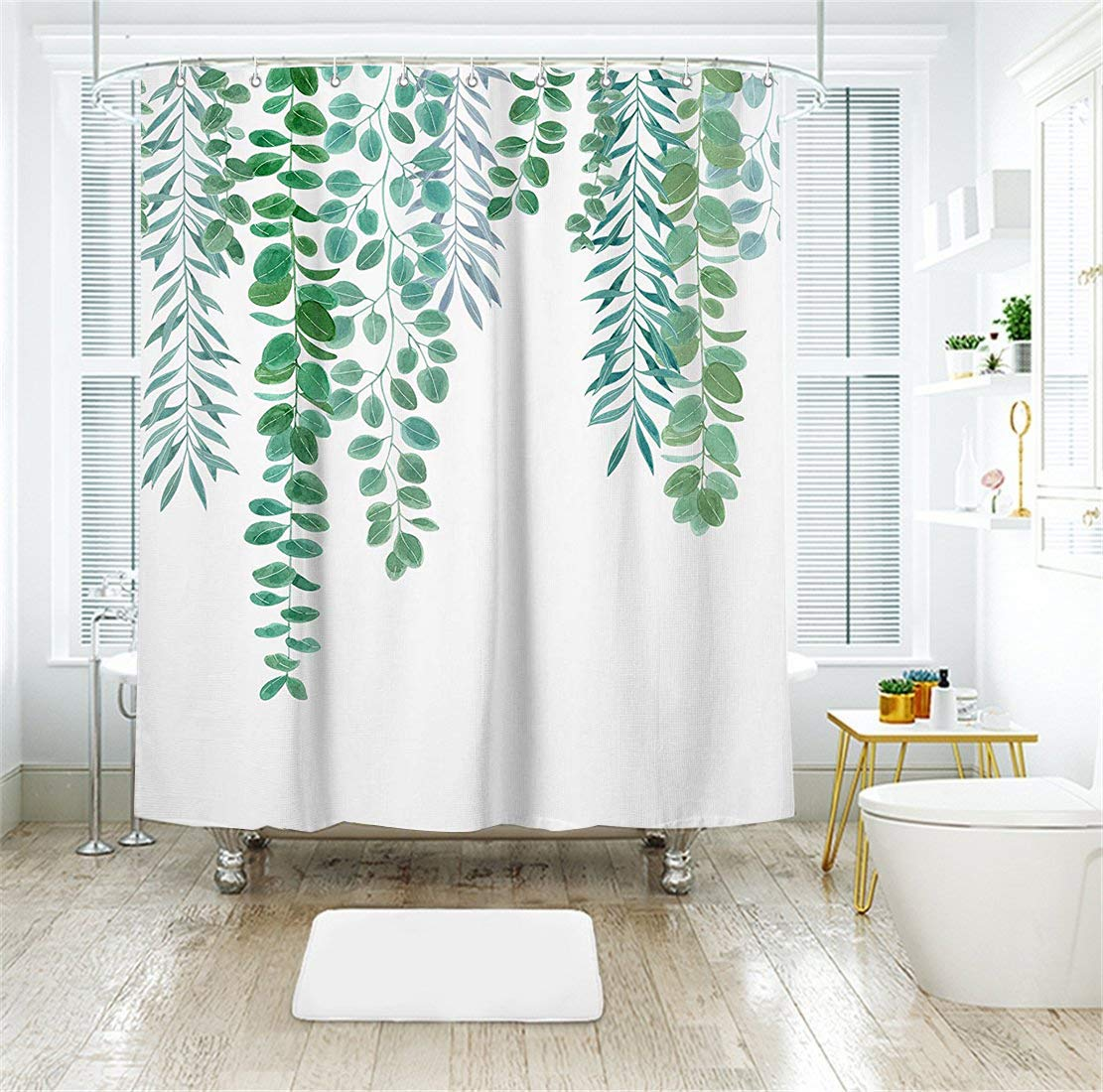 Livilan Simple Green Leaves Shower Curtain Set 70.8'' x 70.8'', Decorative Waterproof Quick Dry Thick Polyester Fabric Bathroom Curtain