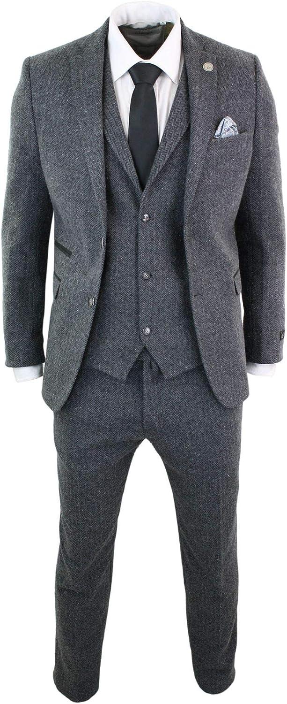 TruClothing Mens Grey Black 3 Piece Tweed Suit Herringbone Wool Vintage Retro Peaky Blinders Charcoal 44
