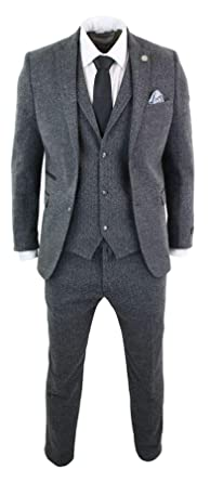 Truclothing Mens Grey Black 3 Piece Tweed Suit Herringbone Wool