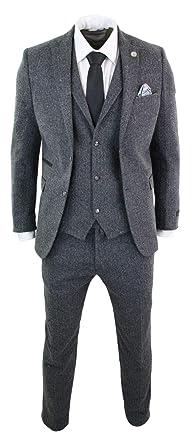 Costume 3 pièces Laine Tweed à Chevrons Gris Noir Vintage rétro Coupe Peaky  Blinders Homme