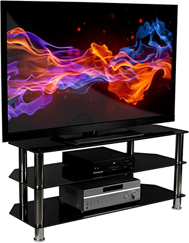 Mount-It Glass TV Stand for Flat Screen Televisions Fits 40 42 46 47 50 55 60 Inch LCD LED OLED 4K TVs, Three Tempered Glass Shelves, Black