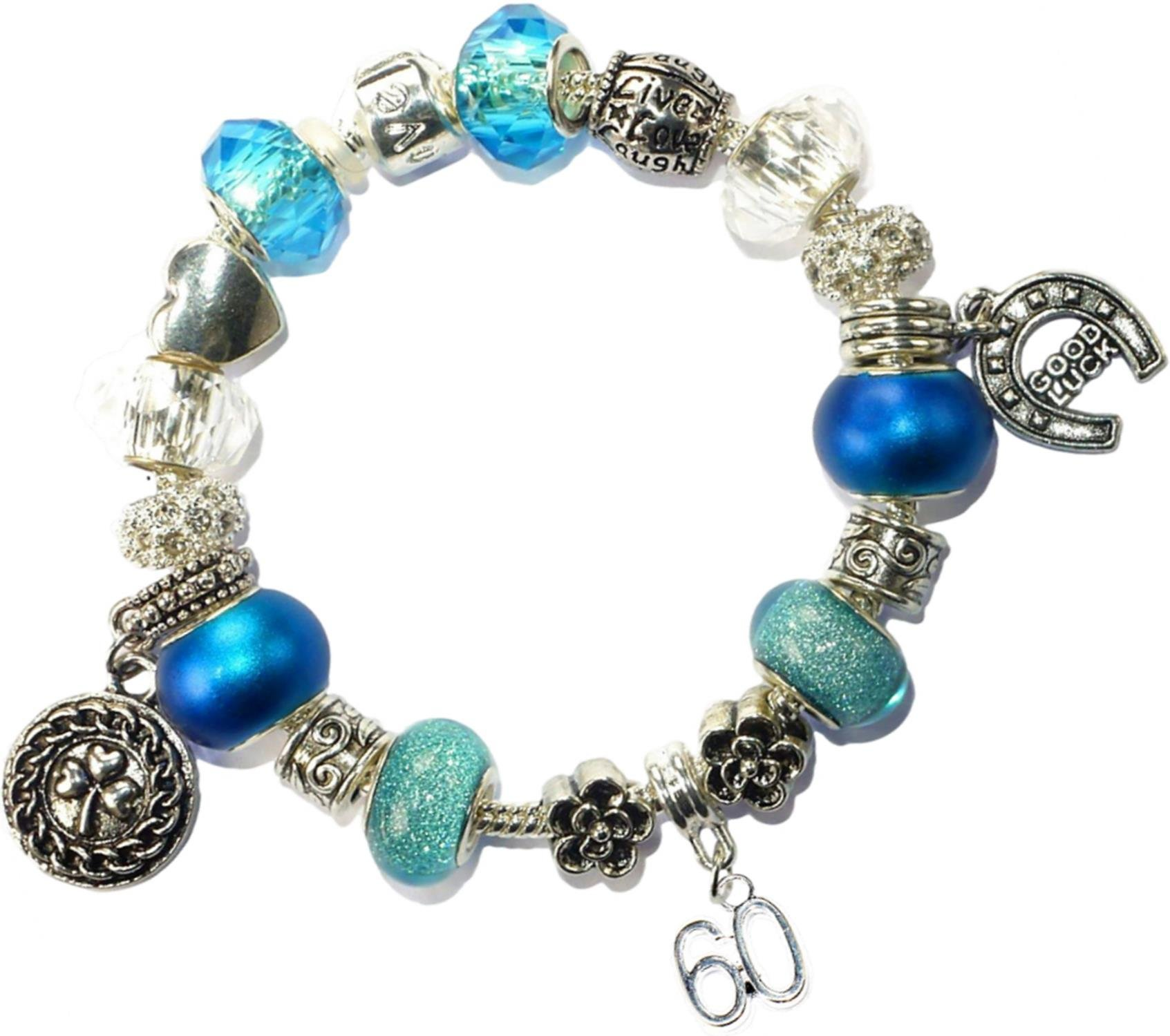 Charm Buddy 60th Birthday Good Luck Lucky Blue Silver Pandora Style Bracelet With Charms Gift Box Jewelry