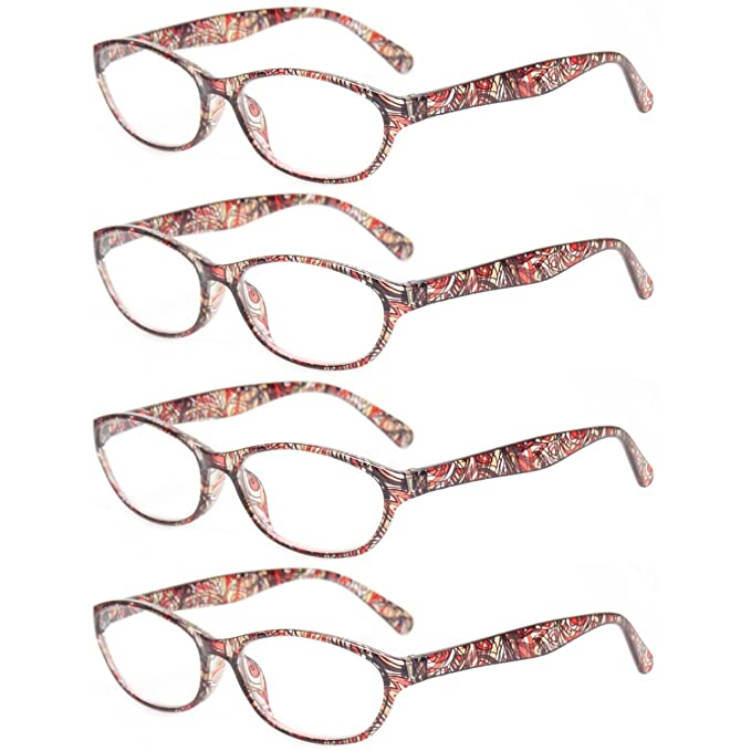 31a4a92aba Reading Glasses Eyeglasses With Floral Design Fashion Readers for Women (4  Pack Brown