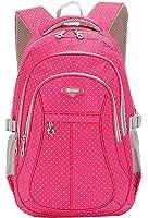 SellerFun Kinder Mädchen Multifunktioneller Schulrucksack bzw. Schultasche mit Punkt-Motiv(Rose,L)