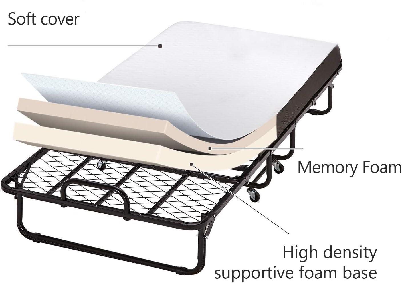 DICTAC Letto Pieghevole 90x200 cm con Materasso Memory Foam e Fodera Antipolvere Risparmio di Spazio Portata Massima 150 kg