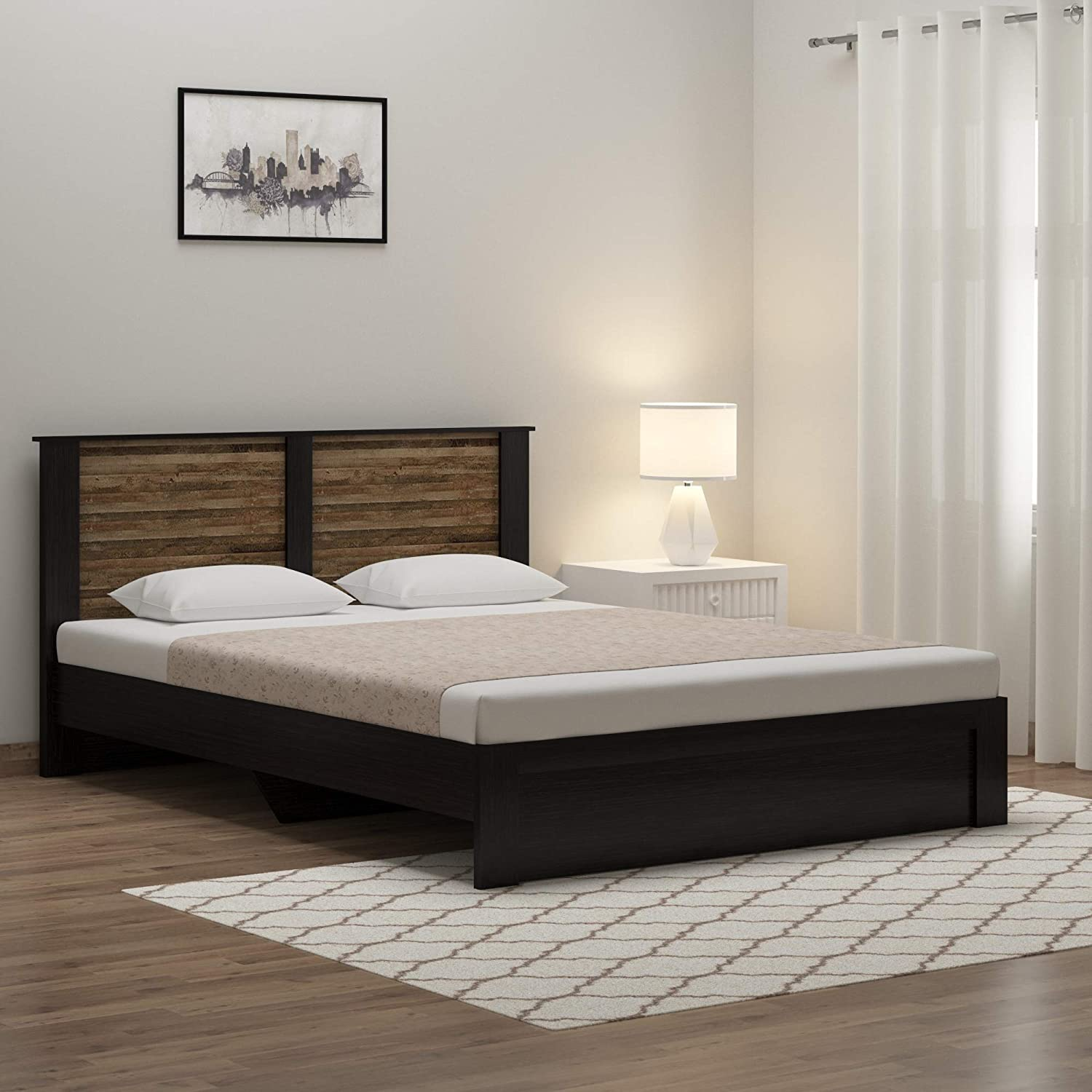 Spacewood Joy Queen Size Engineered Wood Bed (Particle Board