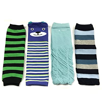 Allydrew Footless Leg Warmers for Babies and Toddlers - Green Black Stripe, Bear, Ruched Blue, Blue Stripe (4 Pack)