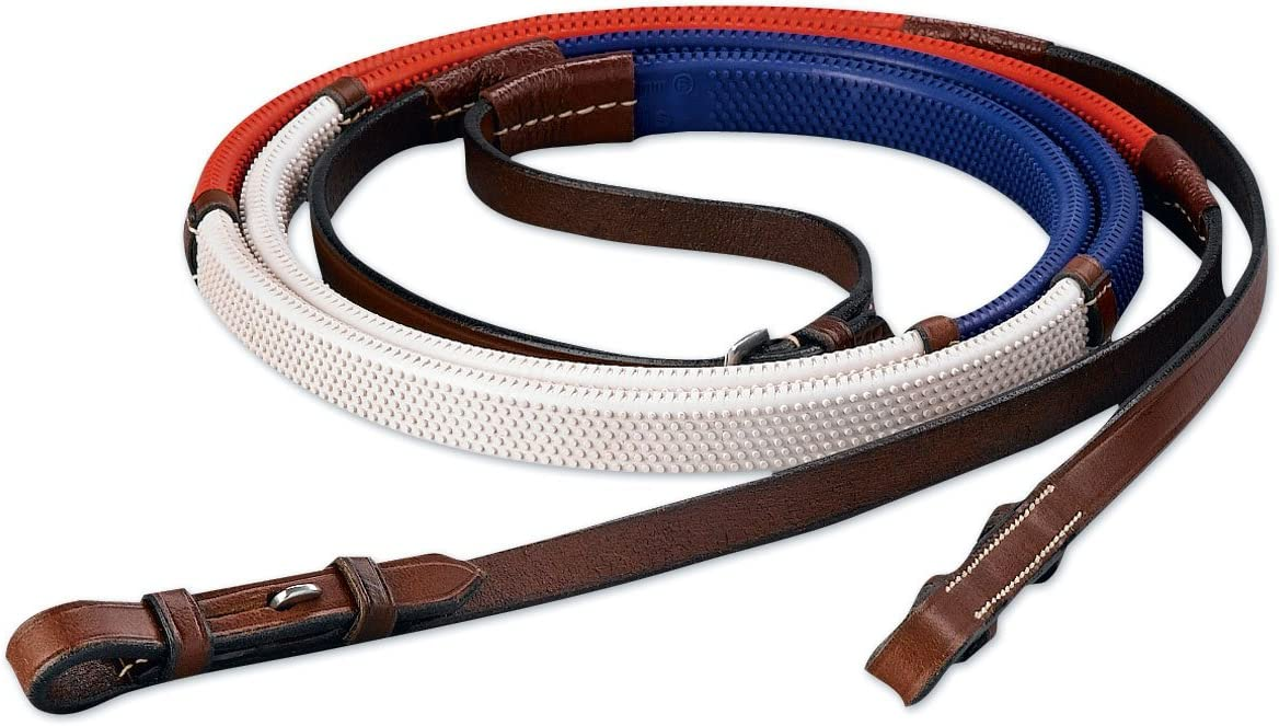 """Kincade Flat English Reins With Leather Grips and Hook Studs 5//8/"""" x 54/"""""""