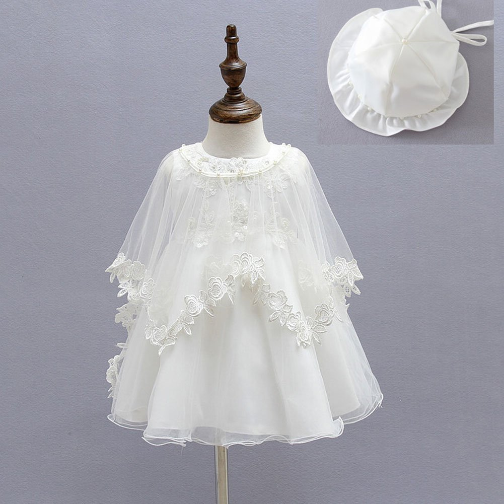 Baby Girl Dress 3PCS Christening Baptism Gowns Formal Dress Moon Kitty