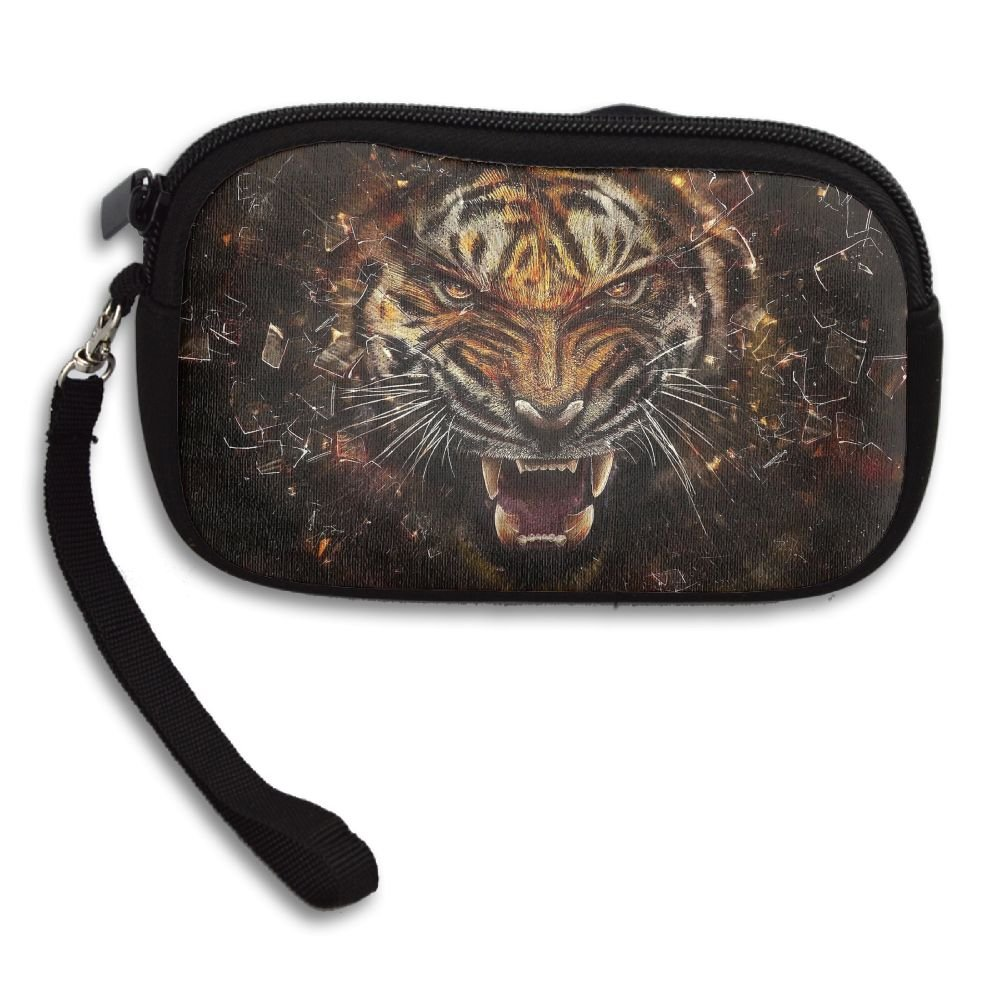 Womens Small Wallet Big Cat Tiger Glass Logo Zipper Card Purse Phone Case Holder Wallets With Chain Mini Coin Pouch